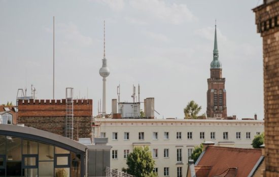 Dachterrasse-Atelier Blick auf Fernsehturm