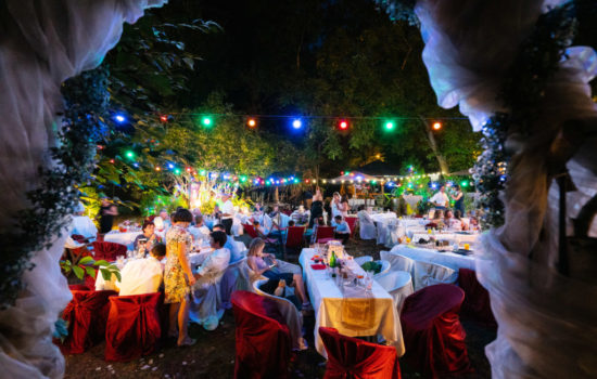 Hochzeit abends in der Villa Feodora